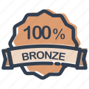bronze, hot, label, medal, percent, prize, ribbon icon