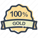 award, discount, gold, percent, prize, sale, stamp icon