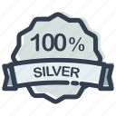 achievement, medal, percent, prize, silver, winner icon