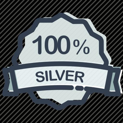 achievement, medal, percent, prize, silver, winner icon