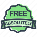 absolutely, business, free, label, shipping, shopping, stamp icon