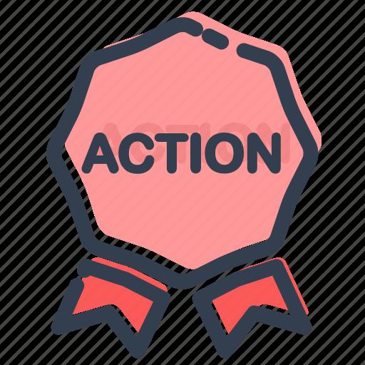 action, bonus, discount, label, offer, sale, sticker icon