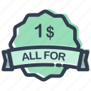 all, buck, buy, ecommerce, for, one, sale icon