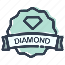 casino, diamond, game, stamp icon