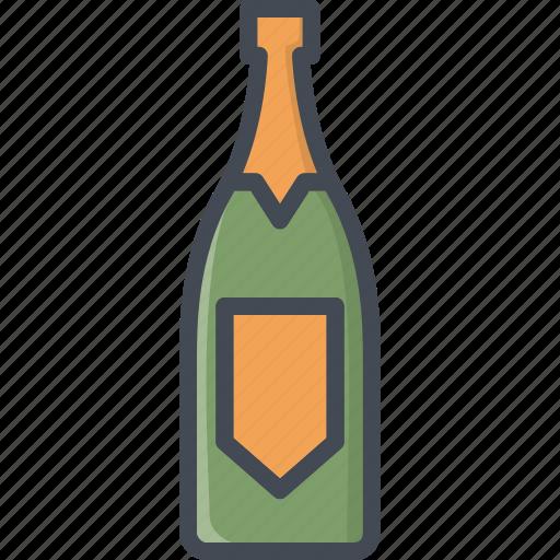 alchohol, beverage, bottle, champagne, food icon