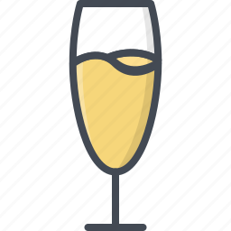 alchohol, beverage, champagne, food, glass icon