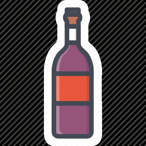 alchohol, beverage, bottle, food, sticker, wine icon