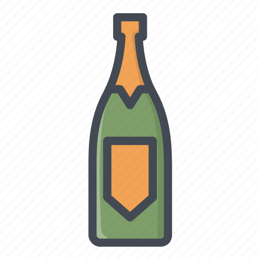 alchohol, beverage, bootle, champagne, food, sticker icon