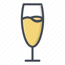 alchohol, beverage, champagne, food, glass, sticker icon