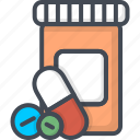 bottle, hospital, medicine, pills, service, work icon