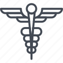 hospital, medicine, scepter, service, snake, wings, work icon