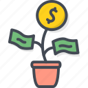 business, cash, coin, money, plant, startup icon
