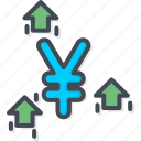 business, currency, trading, up, yen icon