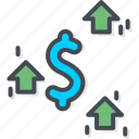 business, currency, dollar, trading, up icon