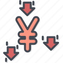 business, currency, down, trading, yen icon