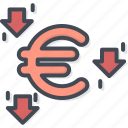 business, currency, down, euro, trading icon