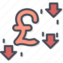 business, currency, down, pound, trading icon