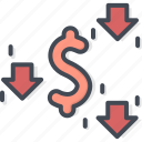 business, currency, dollar, down, trading icon