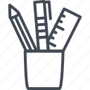 holder, line, office, pen, pencil, work icon