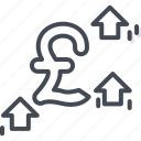 business, currency, pound, trading, up icon