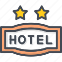 hotel, service, sign, star, two icon