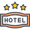 hotel, service, sign, star, three icon