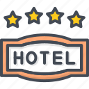four, hotel, service, sign, star icon