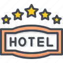 five, hotel, service, sign, star icon
