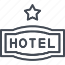 hotel, one, service, sign, star icon