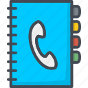 book, contacts, note, phone, service, support icon