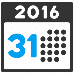 31 days, appointment, calendar, last day, month, schedule, year 2016 icon