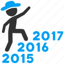 walking, new year, track, gentleman, years, steps, climb icon