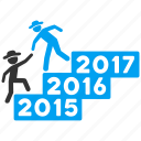 training, annual, gentleman, business help, education, stairs, year 2016 icon