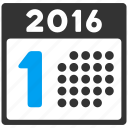 appointment, number one, schedule, first day, 1st date, calendar, year 2016 icon