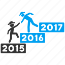 training, business help, annual, gentleman, learning, education, year 2016 icon