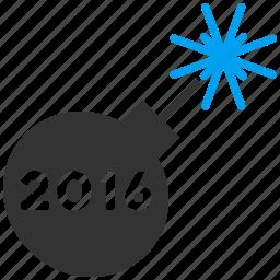 bomb, boom, celebrate, detonator, festival salute, petard, year 2016 icon