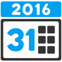 31 days, appointment, calendar, date, schedule, time table, year 2016 icon