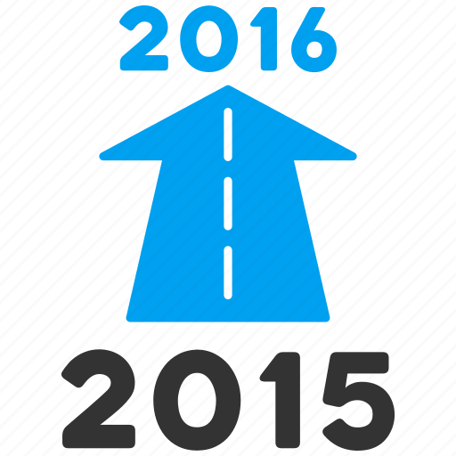 ahead arrow, forward, future, new year, next, road, year 2016 icon