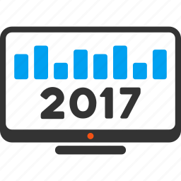 2017 year, chart monitoring, display, graph, monitor, report, statistics icon