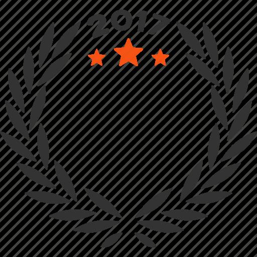 2017 year, anniversary, award, laurel wreath, quality, success, trophy icon