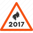 2017 year, alert, chicken, danger, rooster, safety, warning icon