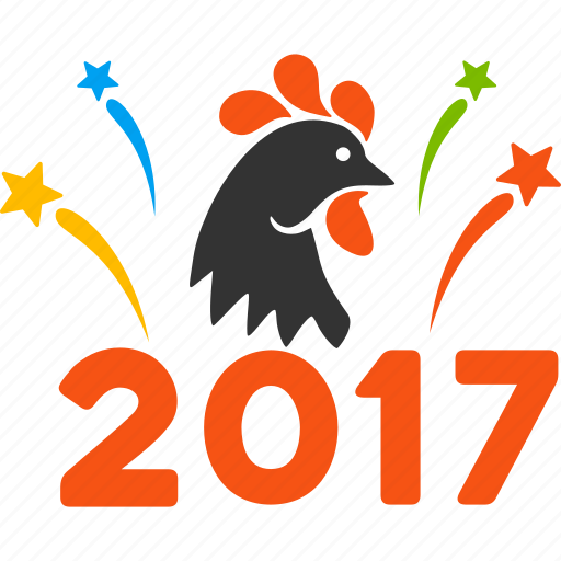2017 celebration, burst, fireworks, new year, rooster, salute, sparkle icon