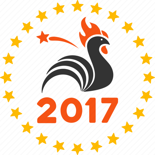 2017 holiday, celebration, fireworks, new year, rooster, sparkle, start burst icon