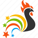 2017 year, cock, explosion, festival fireworks, poultry, rooster, sparkle salute icon