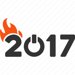 2017 year, burn letters, caption, fire, fired, hot flame, text icon
