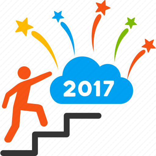 2017 year, annual, dream, fireworks, man, steps, up stairs icon
