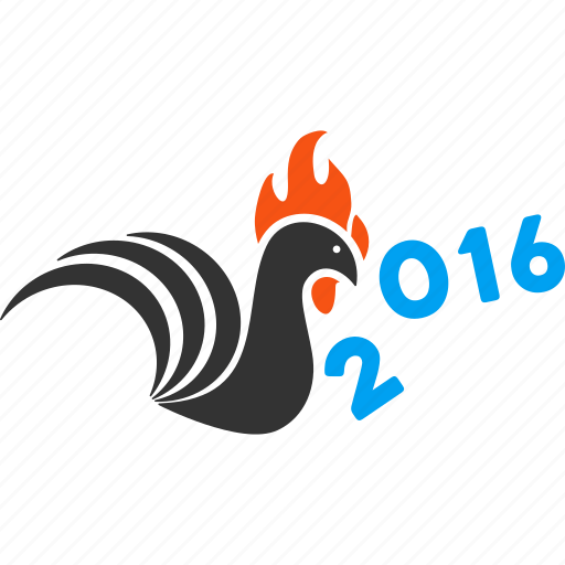 2016 year, banish, bird, chicken, cock, kick, rooster icon