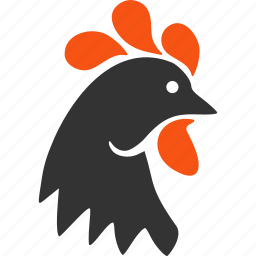 chicken, cock, cockerel, domestic, hen, poultry, rooster head icon
