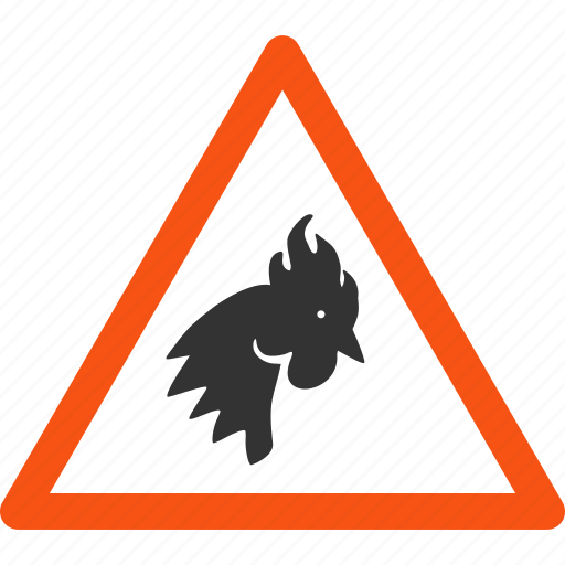 alert, chicken, cock, danger, problem, rooster warning, safety icon