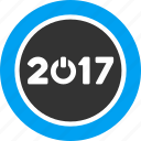2017 year, control, press, round button, start, switch, turn on icon